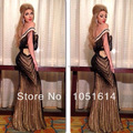 Myriam fares Envío de La Gota de La Sirena Fuera Del Hombro Completo Con Cuentas de Cristal Longitud del Piso de Custome Vestidos de La Celebridad