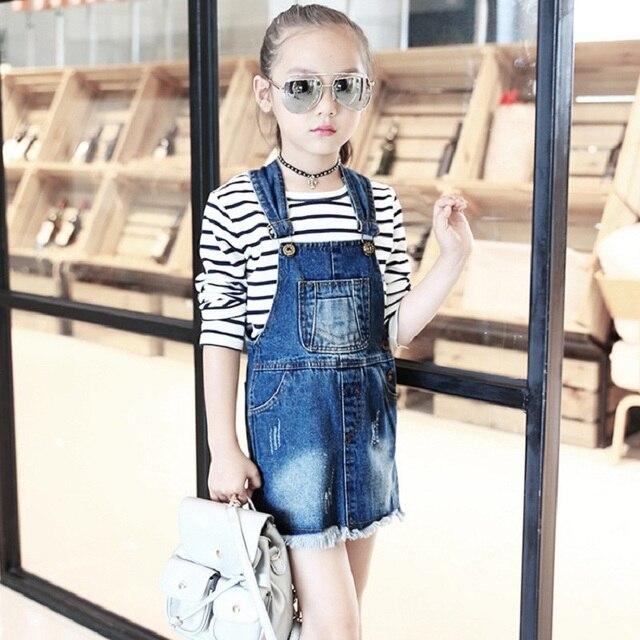 2017New girl's Jeans Braces skirt  Tassel Casual Skirts for girls 3-10Y