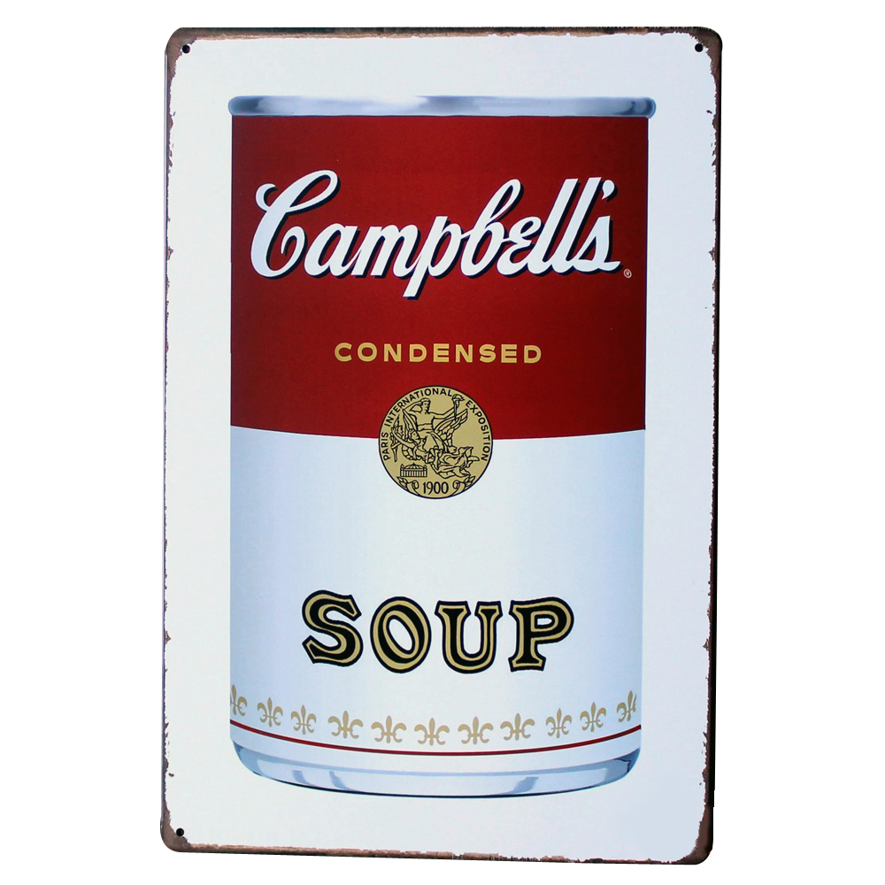 CAMPBELLI SOUP Metal Tin Sign Vintage food plague for home dinner kitchen coffee shop wall painting art decor LJ7-13 20x30cm A1