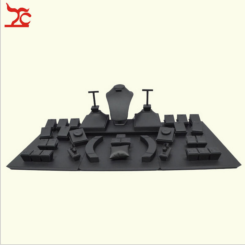 Wooden Jewelry Display Set Black Leatherette Necklace Display Stand Ring Holder Stud Earring Organizer Window Showcase Kit все цены