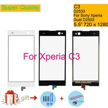 Touchscreen For Sony Xperia C3 D2533 Touch Screen Digitizer Front Glass Panel Sensor Lens DUAL D2502 NO LCD 5.5