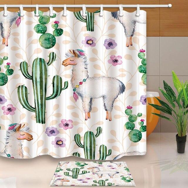 Cute Alpaca And Cactus Bed Bath Shower Curtain Bedroom Waterproof Fabric 12 Hooks