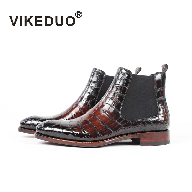 Vikeduo Handmade Designer Crocodile Retro Alligator Fashion Luxury Winter Ankle Footwear Fur Genuine Leather Mens Boots Male