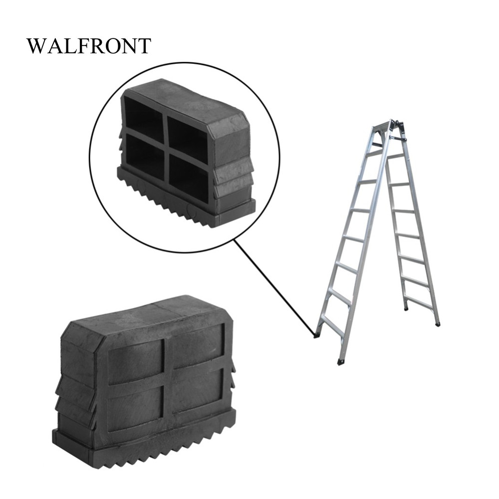 Walfront 2pcs/pair Home Rubber Ladder Feet Non Slip Replacement Step Ladder Feet Rubber Grip Cushion Foot Mat Sole Cover Tools Construction Tools