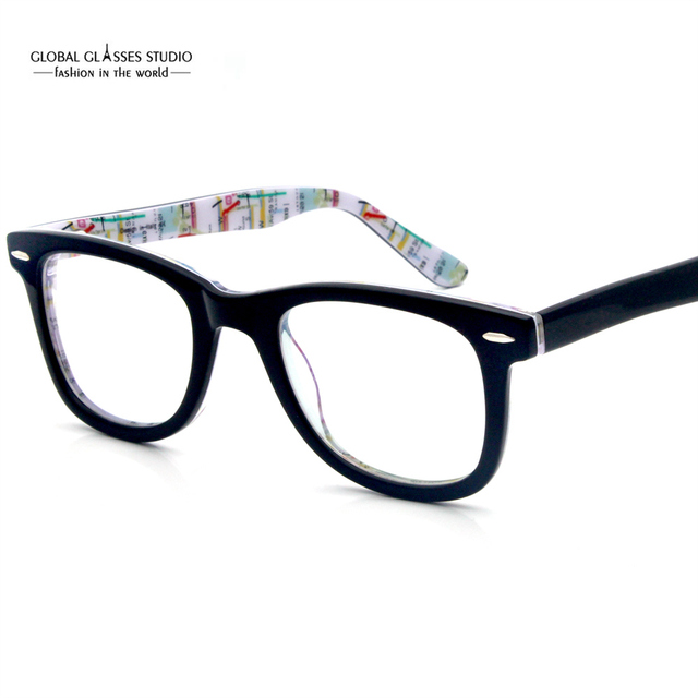 9d55e59b9b21 Vintage Fashion New York City Subway Map Design Women Men Acetate Clear Lens  Optical Frame Eyeglasses with Spring Hinge 604G-15