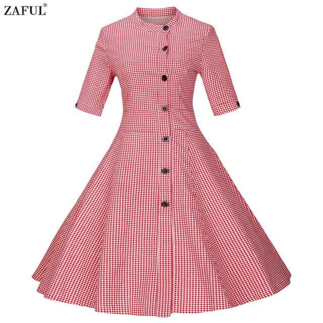 Zaful марка 2017 vintage лето женщины dress красный ретро feminino vestidos халат рокабилли хепберн 50 s туники, платья плюс размер