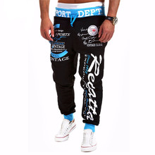 2017 New Fashion Men Letter Print Pants Hip Hop Joggers Pants Male Trousers Mens Joggers Solid Pants Sweatpants Large size 4XL(China)