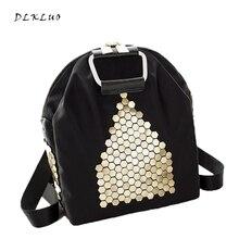 Бесплатная доставка 2017, Новая мода Большой Размеры Для женщин рюкзак высокое качество Оксфорд рюкзак с заклепками для многофункциональный дорожная сумка