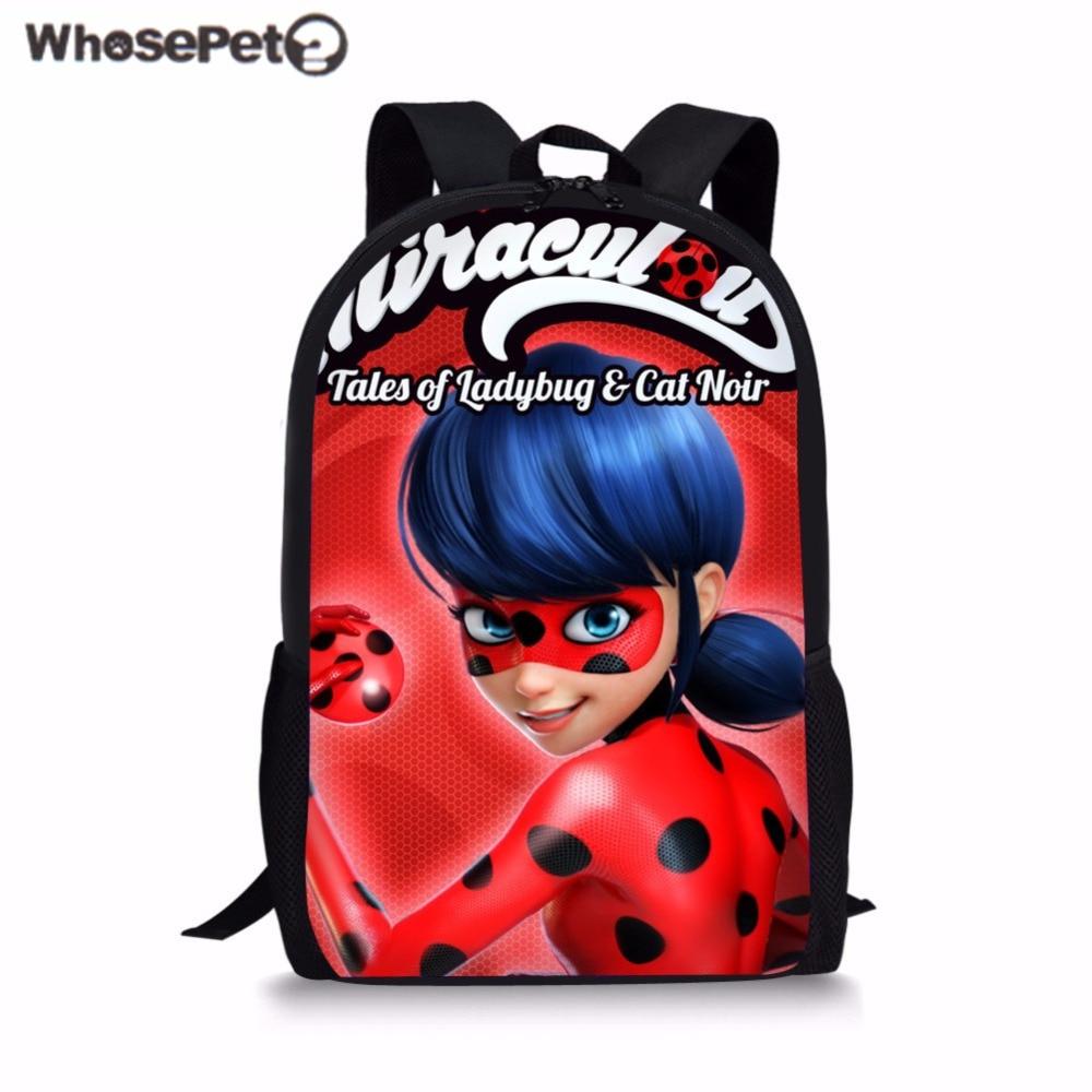 WHOSEPET Miraculous Ladybug School Bags for Children Cartoon Schoolbag Girls Bookbag Student Backpack Rucksack Travel Daypack