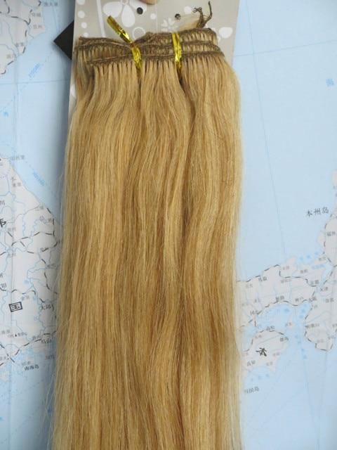 """Venta al por mayor 15 """" 20 """" 22 """" mujeres de Remy pelo humano recto clip en extensiones de cabello 7 unids 70 g rubio oscuro #27"""
