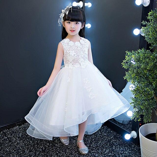 Glizt Putih Appliques Tulle Bunga Gadis Gaun Pesta Anak Gaun