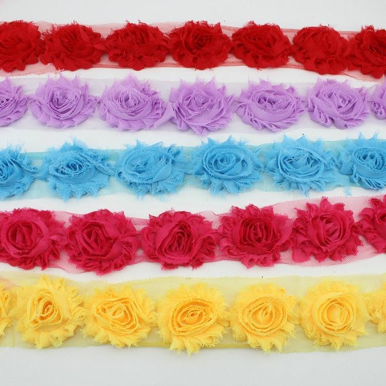 "Fabric Flower Trim: Aliexpress.com : Buy 2"" Shabby Chiffon Flower Fabric"