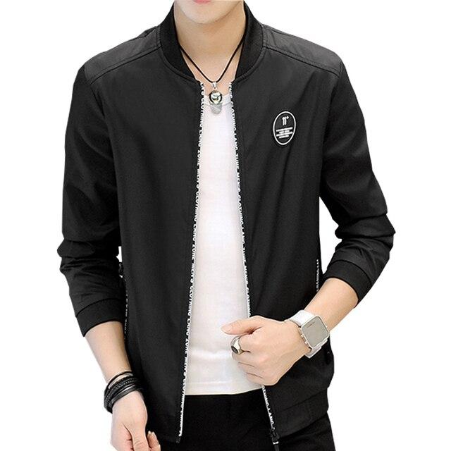 c7b4b219ee12 Autumn New Casual Men s Jacket Solid Slim Fit Stand Collar Jackets Men  Windproof Personality zipper Coats Men Brand-Clothing