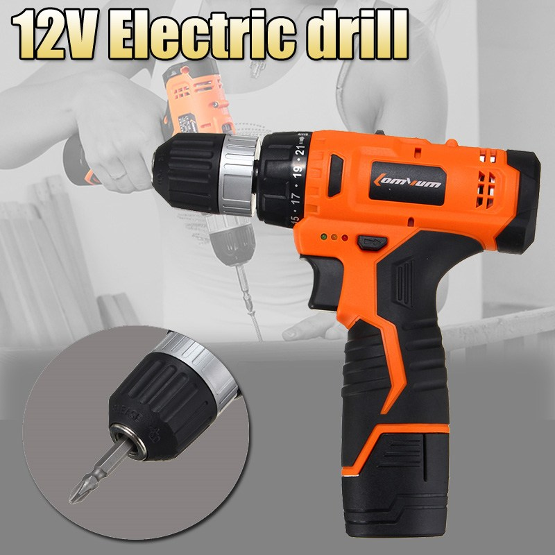 Best Promotion 12V Electric Drill Power Drill Two Speed Electric Screwdriver Tool With Bits Set Power Tool Sets High Quality