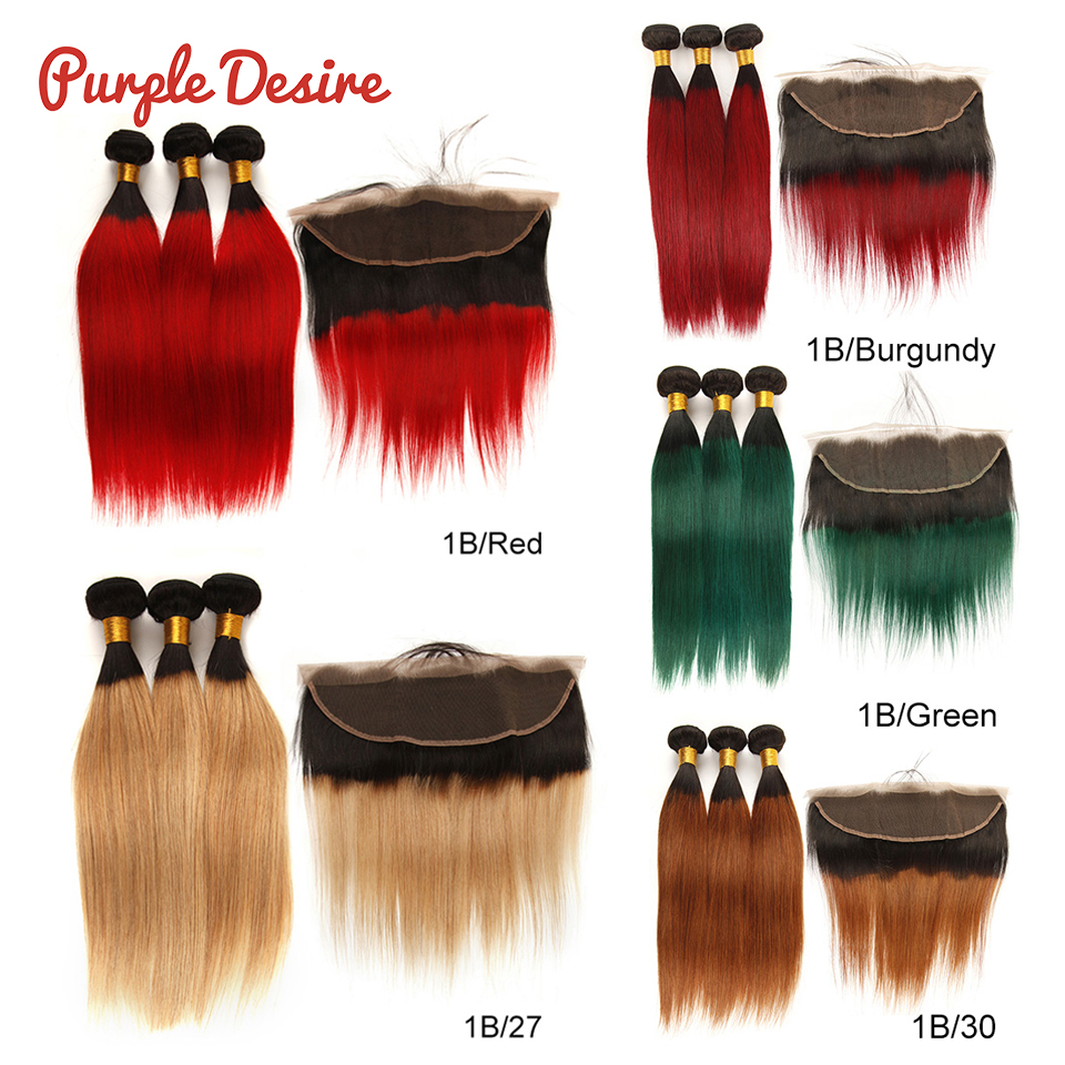 2 Tone Straight Hair With Frontal Ombre Human Hair Bundles with 13x4 Frontal Closure with Baby