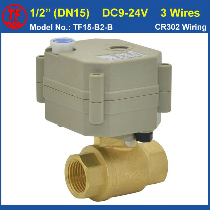 ФОТО TF15-B2-B DC9-24V 3 Wires DN15 Motorised Valve CR302 Wiring BSP/NPT 1/2'' Brass Valve With Manual Override For Water Control