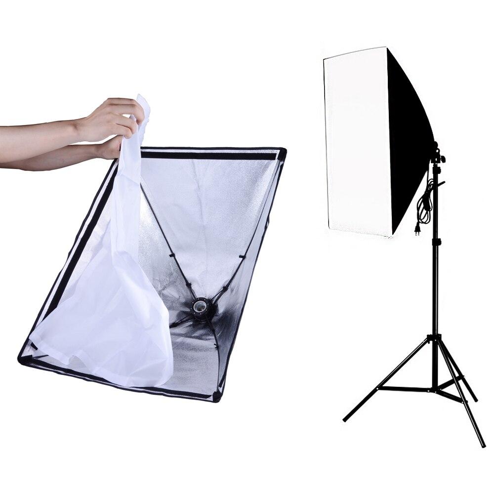 Fotografie Verlichting Accessoires 50*70 CM Softbox Lightbox Met E27 Socket Lamp Holder + 1.9 m Light Stand Foto studio softbox Kit-in Accessoires voor fotostudio's van Consumentenelektronica op  Groep 1