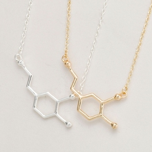 yiustar Gold Chemistry Structure Chokers Unusual Necklace Dopamine Molecule Pendant Necklace for Women Collier Femme XL140