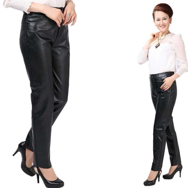 New Fashion Women Soft Leather Pants Female Casual Leggings Long Trousers Black Plus Size M 4XL