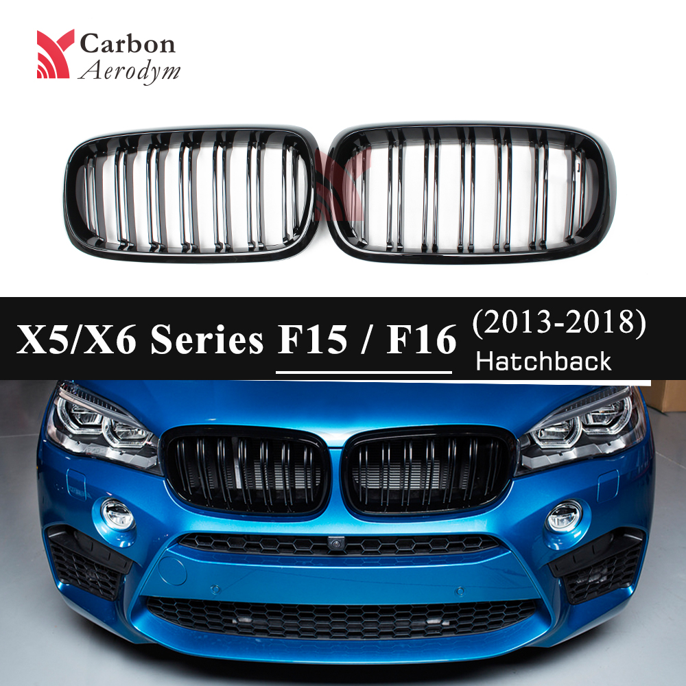 For BMW X5 Series F15 F85 5 Door SUV Double Lines Gloss Black Racing Grills X6 Series F16 F86 Kidney Grilles