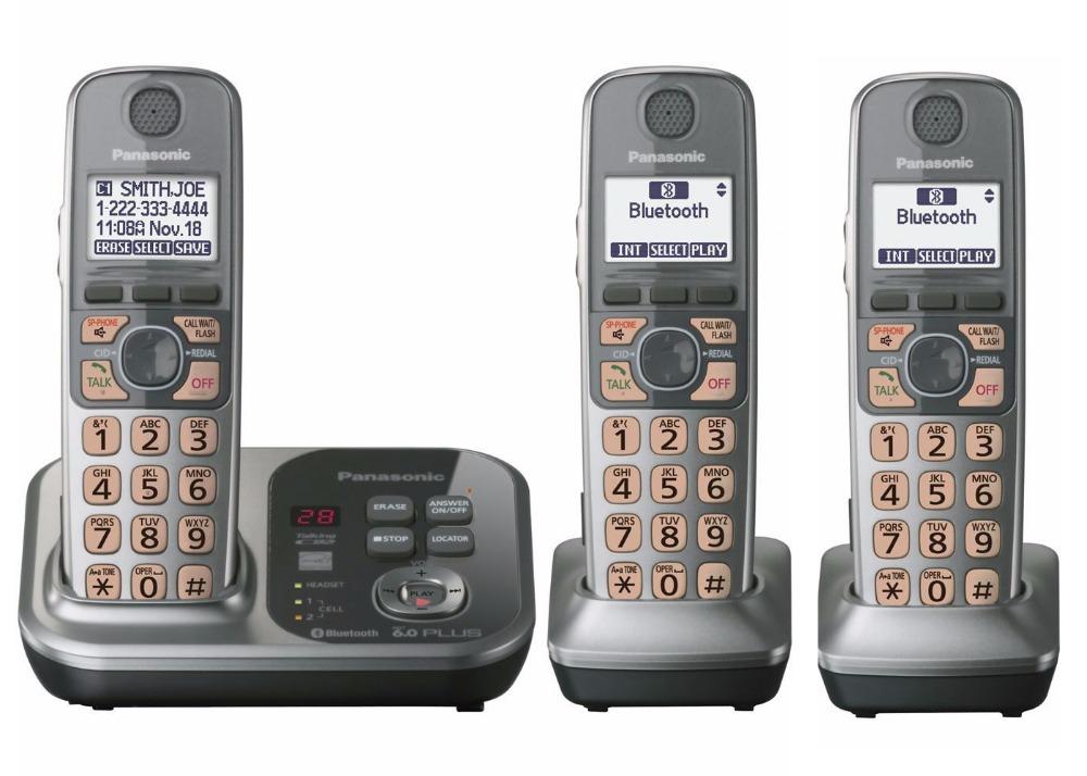 Prix pour 3 Combinés KX-TG7731 1.9 GHz Numérique sans fil téléphone DECT 6.0 Lien à la Cellule via Bluetooth Téléphone Sans Fil avec répondeur