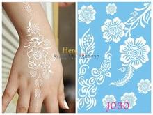 Large Henna Tattoo Stickers Body Art Flash Metallic Henna Tattoos Paste Braclet HJ030 Sunflower White Ink Henna Lace Indian Leaf