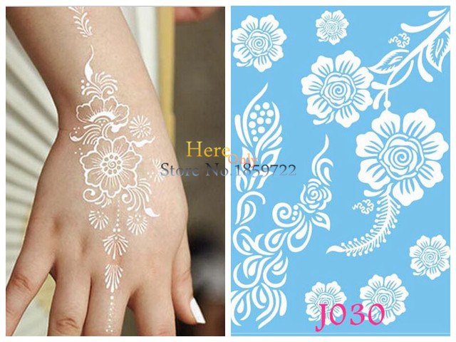 Henna Mehndi Stickers : Large henna tattoo stickers body art flash metallic tattoos