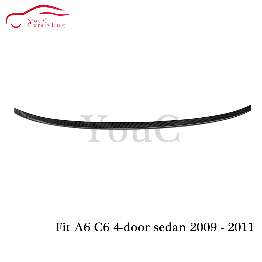 S6 style carbon fiber rear spoiler trunk wing for Audi A6 C6 Saloon 2009 2010 2011 Rear bumper tail boot lip spoiler splitter