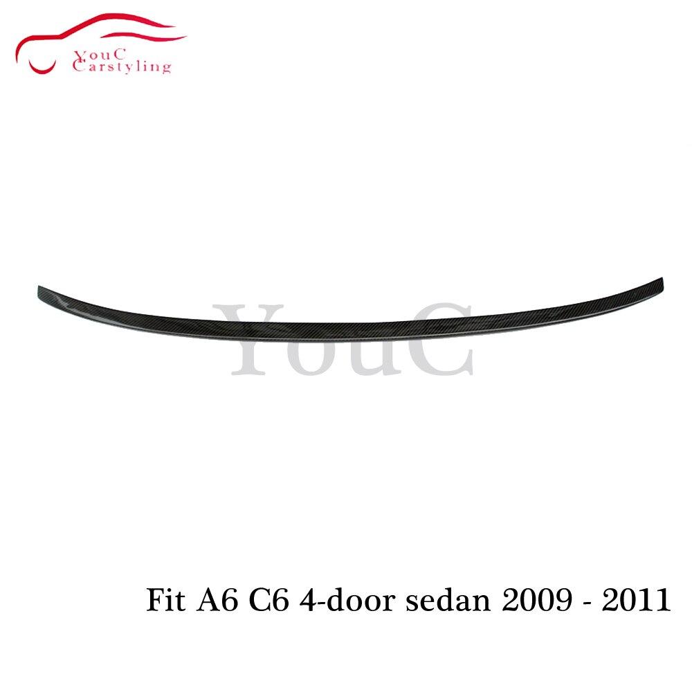 S6 style fibre de carbone aileron arrière aile de coffre pour Audi A6 C6 berline 2009 2010 2011 arrière pare-chocs queue de coffre lèvre spoiler séparateur