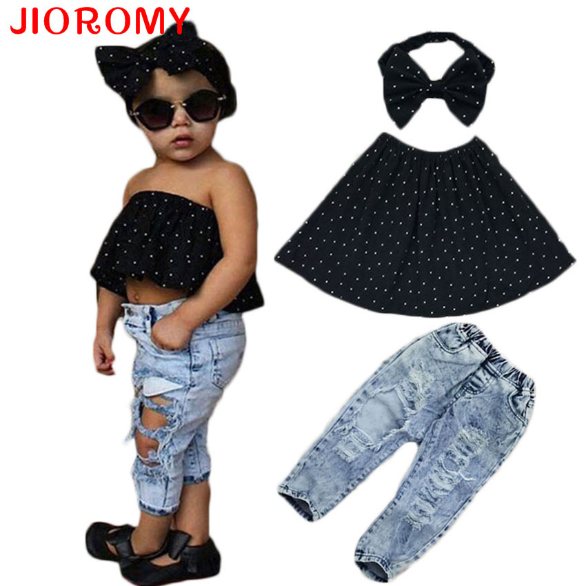 2017 INS New Arrival Girls Suit Tops Headband Jeans 3 Pieces Set Fashion Hole Jeans Dot