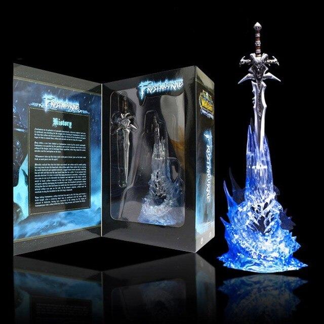 "WOW Arthas Menethil's Weapon Frostmourne Sword with Lighting Figma Starz Game Anime pvc action figure toy kids birthday toys 11"""