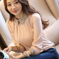 S XXL 2016 новая мода женские длинные рукава шифоновая блузка рубашка закругленный отложной воротник фонарь рукавом Женщины блузка Топы