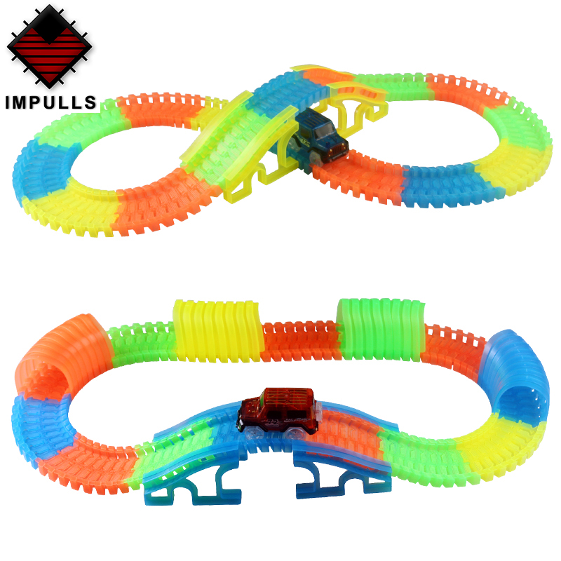 Glowing Track Cars Intersection / Bridge /Tunnel Factory Racing Track Assembly Free Combination Of Children's Toy  FSWOB