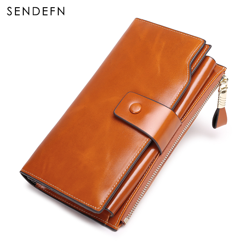 SENDEFN vintage luxury women wallets genuine leather long zipper clutch purse large capacity card holder wallet