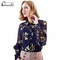 CISULI 100% Silk Chiffon Shirt Floural Printed Silk Shirts Women Summer Blouses Exclusive New Desigual with Silk Cotton Lining