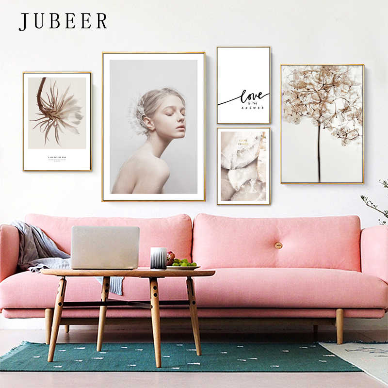 Scandinavian Style Flower Posters and Prints Love Canvas Painting Wall Pictures for Living Room Decor for Home Decoration