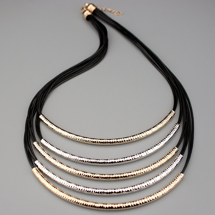 2016 New Jewelery Accessories Metal Tube Multilayer Black Leather Chain Necklaces for Women Statement Necklaces & Pendants X1646