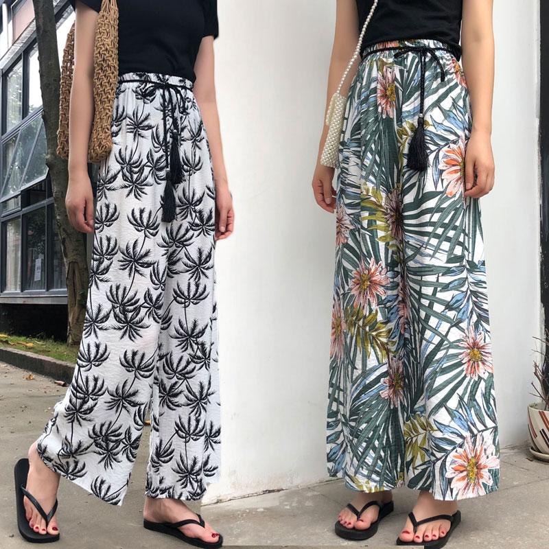 2019 Summer Beach Print   Wide     Leg     Pants   Women Elastic High Waist Streetwear   Pants   Plus Size Bohemia Trousers pantalon femme