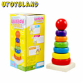 UTOYSLAND Rainbow Stacker Stacking Rainbow Tower Wooden Toy for Kids
