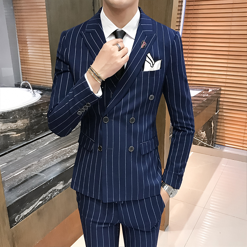 ( Jackets + Vest + Pants )  Men's Fashion Stripes Formal Business Double-breasted Suit Three-piece Suits Groom Dress Suits Male