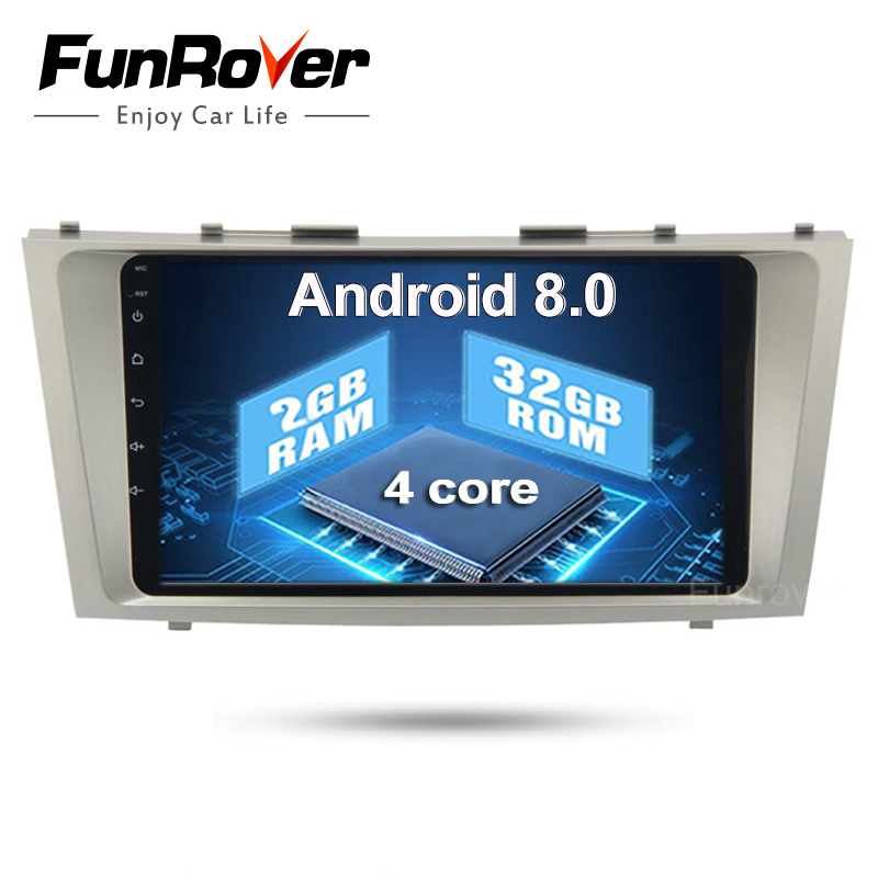 Funrover 2 Din Android 8.0 Car Dvd Player For Toyota Camry 2007 2008 2009 2010 2011 auto Radio Multimedia Gps Navigation Rds FM
