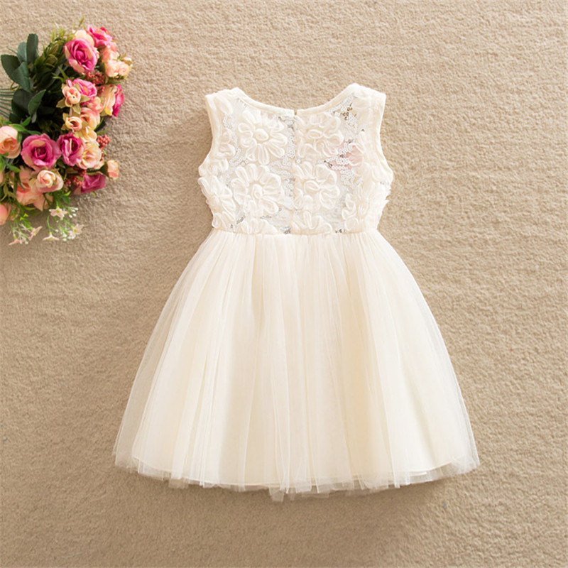 High Qulity Summer New Lace Vest Girl Dress Baby Girl Princess Dress Chlidren Clothes Kids Party Costume Ball Gown Beige 1-6Y new summer girls kids fashion knee high ball gown sleeveless vest dress baby girl children clothes infant party dresses 2 12 yrs
