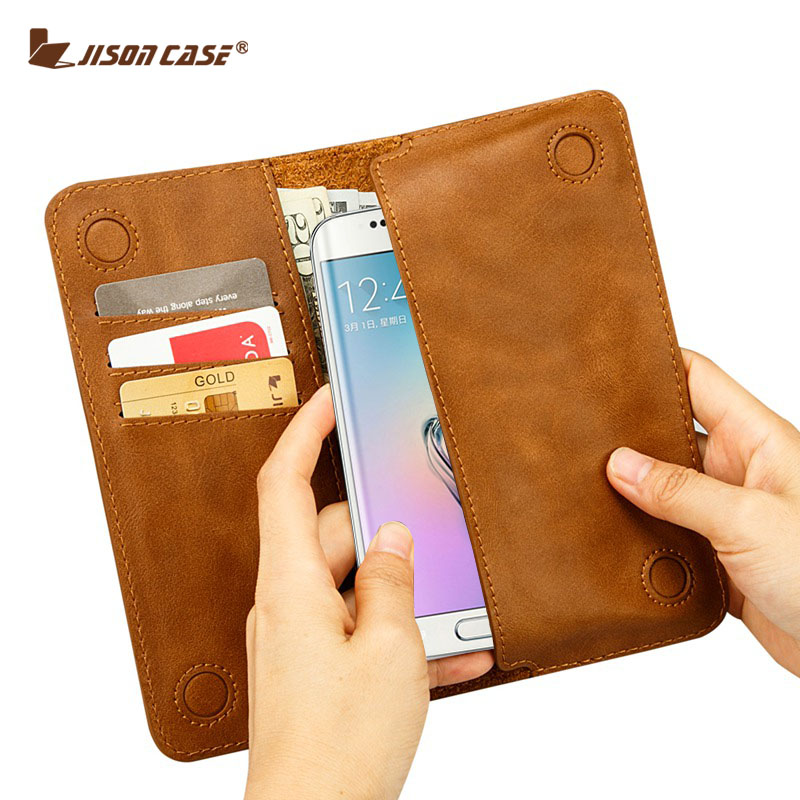 Jisoncase Phone Case for Samsung Galaxy S8 S7 S7 edge Wallet Pouch PU Leather Case for