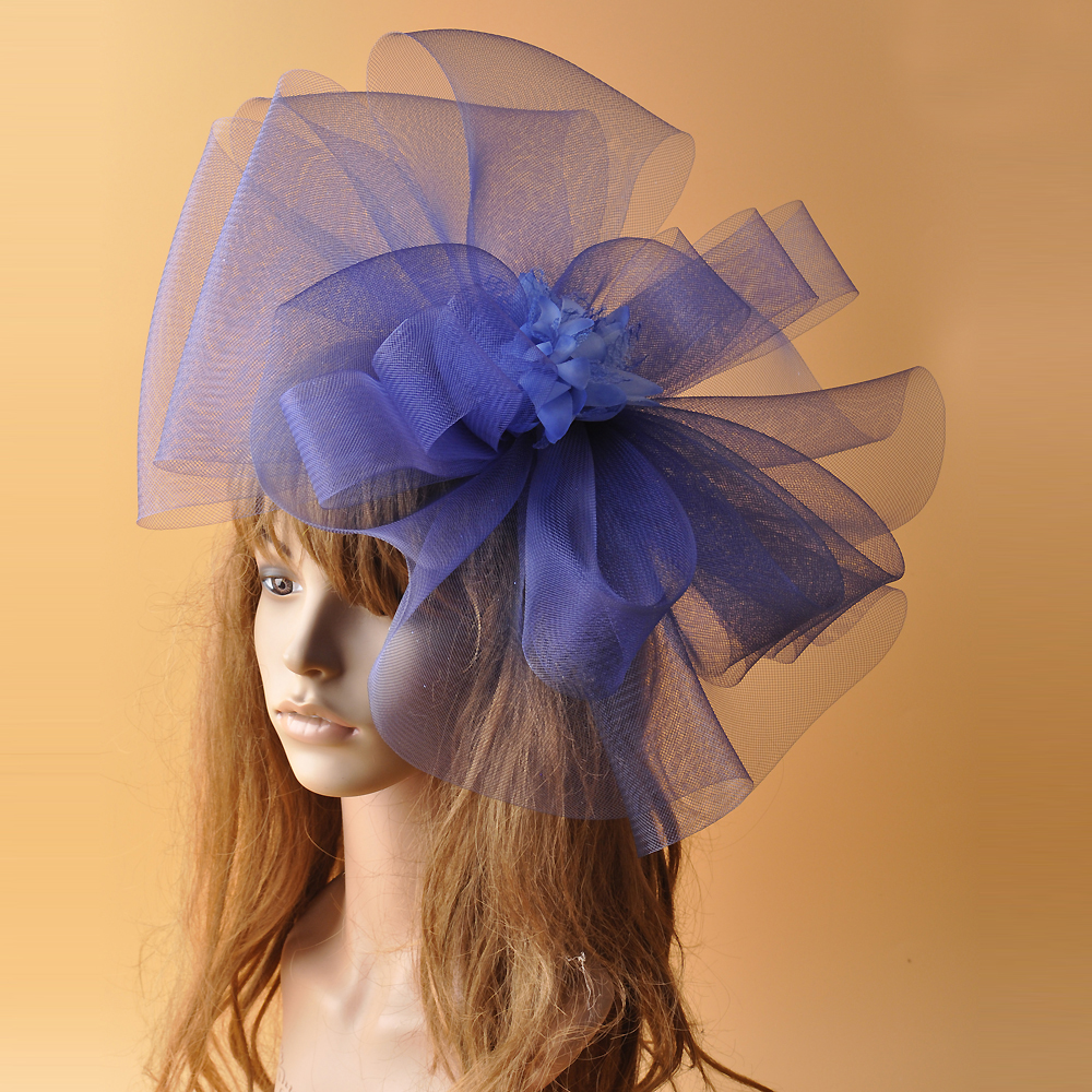 Super Big Gauze Flower Hair Fascinator Hat Women Wedding Hat For Bride Violate Blue Green Mesh TOp Hat Hair Clip Party Headwear multiple color mix dot birdcage veil 25cm width millinery veils diy hair accessories hat bridal wedding netting party headwear