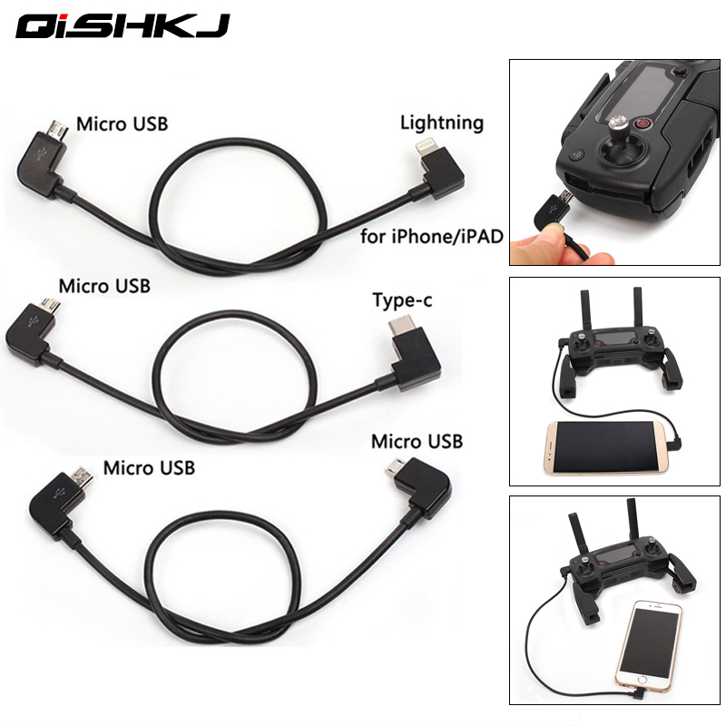 Data Cable For DJI Spark/MAVIC Pro/Mavic 2 Air Control Micro USB To Lighting/type C/Micro For IPhone For Pad For Xiaomi Huawei