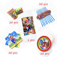81pcs/lot Disposable Super Mario Theme Paper Cup Plate Napkin Straw  Tablecloth Birthday Party Tableware Baby Shower Supplies