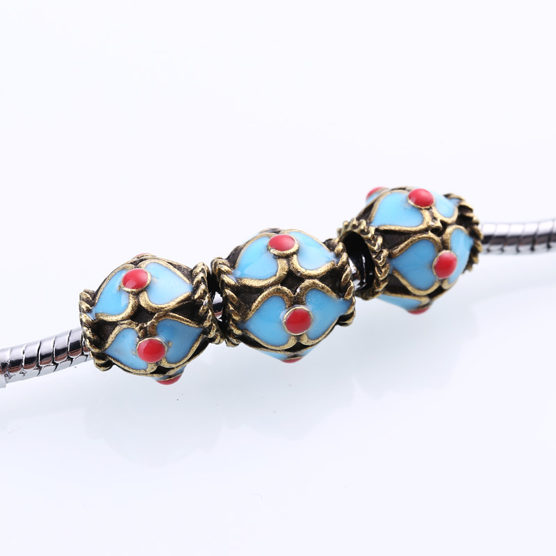 Antique Brass Blue Enamel Beads Fit Pandora Charms DIY Metal Beads for Jewelry Making Wholesale 20pcs/lot BC969