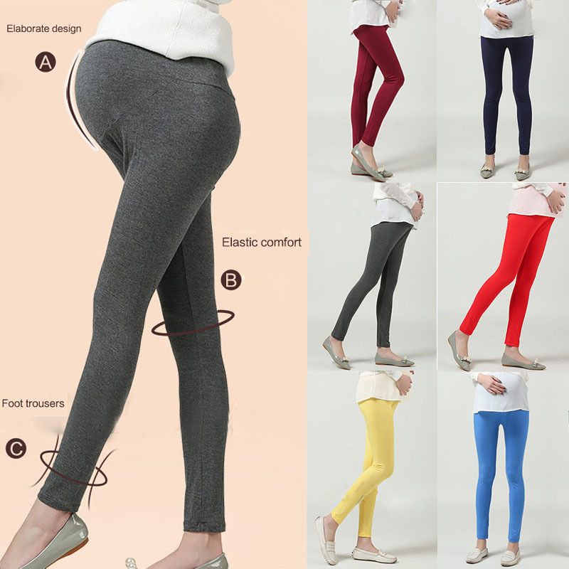 Soft Adjustable Pregnant Women Leggings Abdominal Maternity Slim Pants Belly Leggings Trousers Solid Color stylish solid color suede women s narrow feet pants