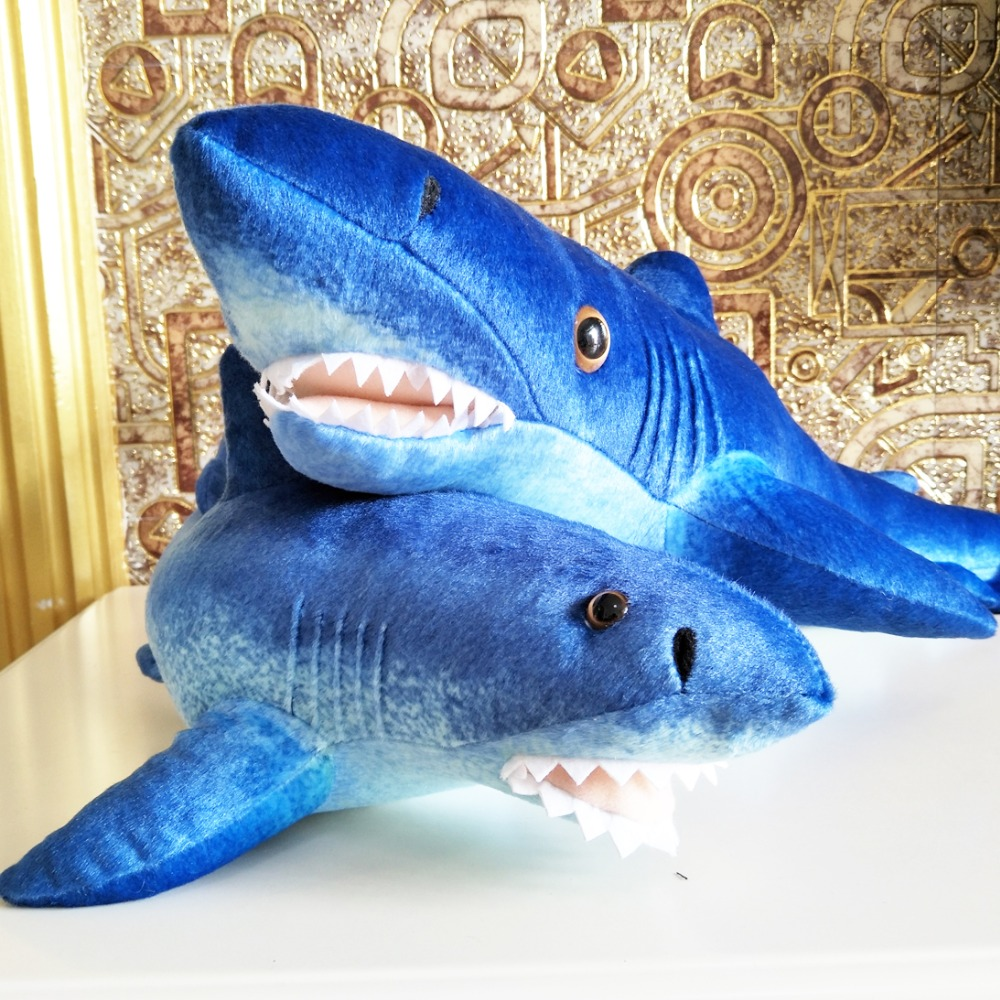 BOLAFYNIA Children Plush Stuffed Toy simulation Blue shark pillow Baby Kids Toy for boy Christmas Birthday Gift