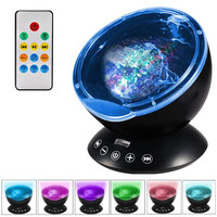 Novetly Luminaria Ocean Wave Projector 7 Colors 12 LED Night Light With Mini Music Player For